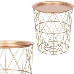 Stolik kawowy loft 45 cm kosz metalowy z tacą industrialny różowe złoto