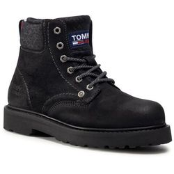 Trapery TOMMY JEANS - Lace Up Mens Tommy Jeans Boot EM0EM00534 Black BDS