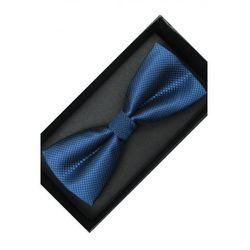 Elegancka Mucha Muszka Męska gotowa niebieska w delikatną kratkę tradycyjna M228