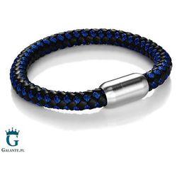 Czarno-niebieska bransoletka pleciona ze skóry naturalnej i liny TX1661-BKB