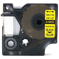 Rurka termokurczliwa DYMO Rhino 18052 6mm x 1.5m ø 1.2mm-2.3mm żółta czarny nadruk S0718270 - zamiennik   OSZCZĘDZAJ DO 80% - Z