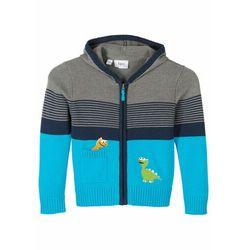 Sweter rozpinany chłopięcy z kapturem bonprix szary melanż - niebiesko-turkusowy