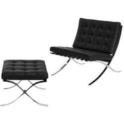 Fotel z podnóżkiem BA1 skóra naturalna czarna