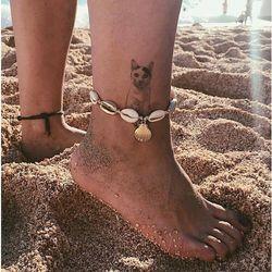 Bransoletka na nogę na kostkę sznurek muszelki