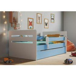 Łóżko dla dziecka, barierka ochronna, tomi, niebieski, biały, mat