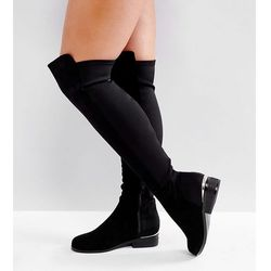 ASOS KNIGHT Wide Fit Stretch Over The Knee Boots - Black