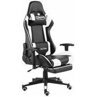 Fotele dla graczy, Czarno-biały fotel ergonomiczny dla gracza - Divinity
