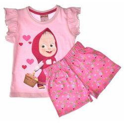 Piżama dla dzieci z krótkim rękawem Masza i Niedźwiedź - Fuksja ||Pudrowy róż