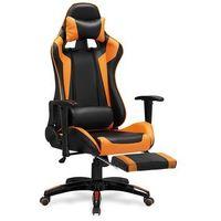 Fotele dla graczy, Fotel gamingowy Halmar DEFENDER 2-pomarańczowy z podnóżkiem