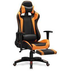 Fotel gamingowy HALMAR DEFENDER 2 - pomarańczowy z podnóżkiem