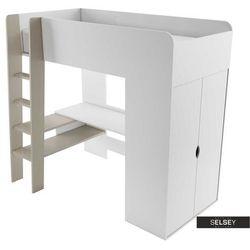 SELSEY Łóżko piętrowe Darkals z szafą i biurkiem