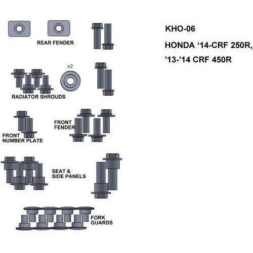 Pozostałe akcesoria do motocykli, KEITI KHO-06 ZESTAW ŚRUB HONDY 14-CRF 250R 13-14 C