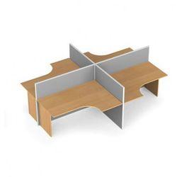 Zestaw parawanów biurowych ze stołem ergonomicznym, tekstylny, 4 miejsca, brzoza