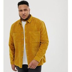 ASOS DESIGN Plus cord overshirt in mustard with tortoise shell buttons - Yellow