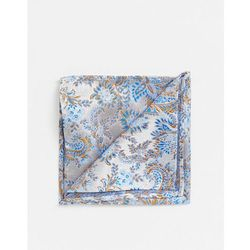 Twisted Tailor pocket square in blue floral - White