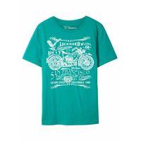 Koszulki z krótkim rękawkiem dziecięce, T-shirt chłopięcy Slim Fit, bawełna organiczna bonprix szmaragdowy z nadrukiem