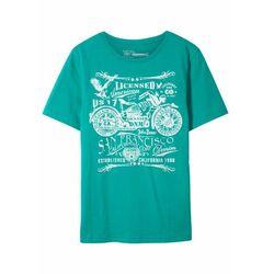 T-shirt chłopięcy Slim Fit, bawełna organiczna bonprix szmaragdowy z nadrukiem