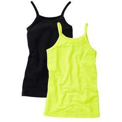 Top (2 szt.) bonprix żółty neonowy + czarny