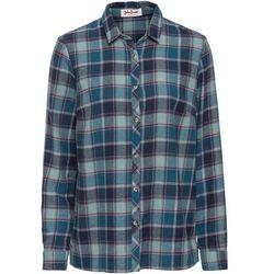 Koszula flanelowa, długi rękaw bonprix niebiesko-niebieskozielony w kratę