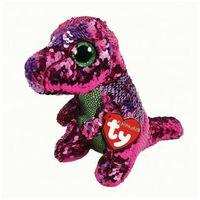 Pluszaki zwierzątka, Beanie Boos Flippables Crunch - różowo - zielony dinozaur z cekinami 17 cm Maskotka TY INC