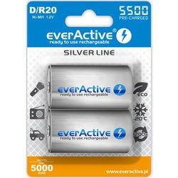 "2x everActive R20/D Ni-MH 5500 mAh ready to use ""Silver line"""