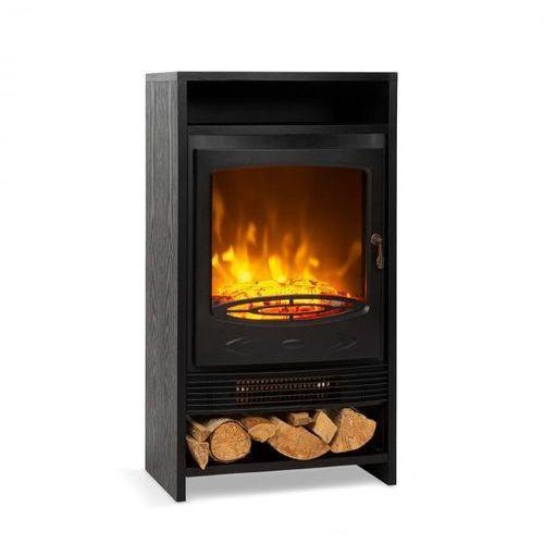 Kominki elektryczne, Klarstein Bergamo, kominek elektryczny, 900/1800 W, termostat, imitacja drewna, kolor czarny