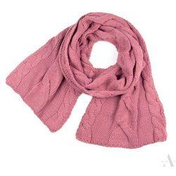 Długi szalik damski z plecionymi warkoczami pudrowy róż - pudrowy róż Szaliki, czapki, rękawiczki (-21%)