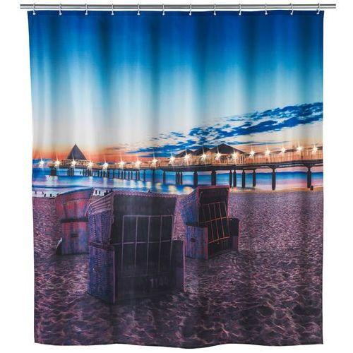 Zasłona prysznicowa, tekstylna usedom z oświetleniem led, 180 x 200 cm, marki Wenko