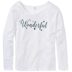 Shirt do spania oversize bonprix biały z nadrukiem