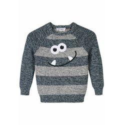 Sweter chłopięcy z buzią stworka bonprix ciemnoniebiesko-matowy srebrny melanż