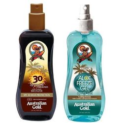 Australian Gold Spray Gel Bronze SPF30 and Aloe Freeze Spray | Zestaw do opalania: spray do opalania z bronzerem 237ml + chłodzący spray po opalaniu 237ml