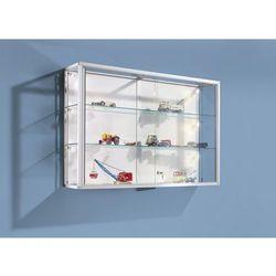 Witryna ścienna,rama aluminiowa, eloksalowana na kolor srebrny, 2 szklane półki