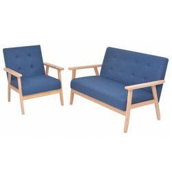 Niebieski komplet tapicerowanych sof wypoczynkowych - Edris 3X