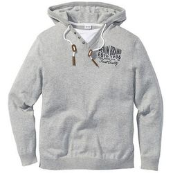 Sweter z kapturem Regular Fit bonprix jasnoszary melanż