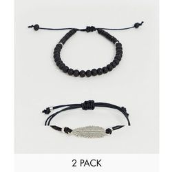 ASOS DESIGN bracelet pack in black with beads and feather - Black