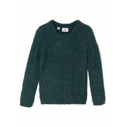 Sweter bez zapięcia z przędzy boucle bonprix niebieski indygo melanż
