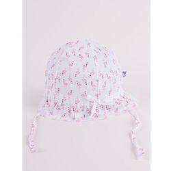 Czapka letnia kapelusz jasnoróżowy ze wstążką we flamingi 46-48