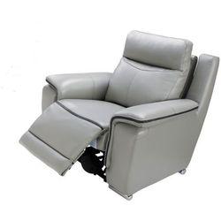 Skórzany fotel z regulowaną elektrycznie funkcją relaks PAOSA - Szary z lamówką w kolorze antracytu