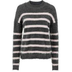 Sweter dzianinowy bonprix antracytowo-jasnoróżowy w paski