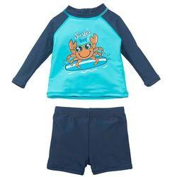 Koszulka kąpielowa + kąpielówki niemowlęce z ochroną UV, chłopięce (kompl. 2-częściowy) bonprix morsko-ciemnoniebieski