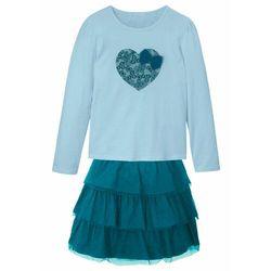Shirt dziewczęcy + tiulowa spódnica (2 części) bonprix niebiesko-morski-turkusowy