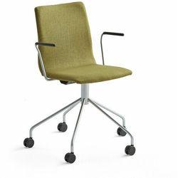 Krzesło konferencyjne OTTAWA, na kółkach, podłokietniki, oliwkowa tkanina, szary