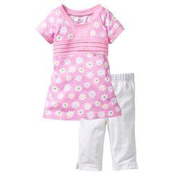 Długi shirt + legginsy rybaczki (2 części) bonprix jasnoróżowy w kwiatki