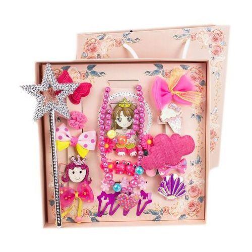 Pozostała biżuteria, Zestaw dla dziewczynki różowy spinki gumki różdżka