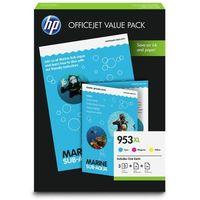 Tusze do drukarek, oryginalny multipak HP 953xl [1CC21AE] cmy + papier