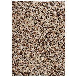 Patchworkowy dywan ze skóry bydlęcej, 160x230 cm, brązowo-biały