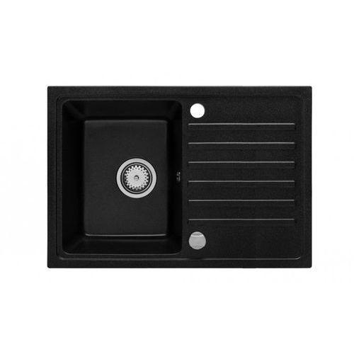 Vbckueche Zlewozmywak granitowy nexo czarny z ociekaczem 45,4x70 cm + syfon manualny