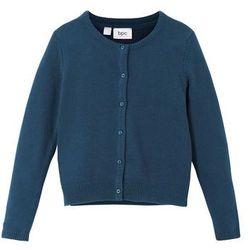Sweter rozpinany dziewczęcy bonprix ciemnoniebieski