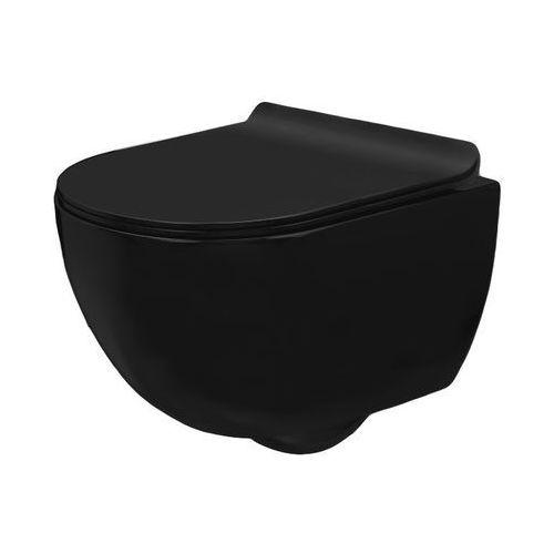 Rea Carlo mini rimless slim black miska wc wisząca bezrantowa + deska wolnoopadająca czarny mat (5902557335213)