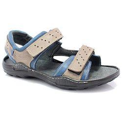 KENT 295 SZARY-NIEBIESKI - Męskie sandały skórzane - Szary ||Niebieski